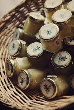 Honey or beeswax candle favors. Love the bee labels. Cadeau Client, Honey Favors, Honey Label, Honey Packaging, My Honey, Honey Bees, Local Honey, Honey Butter, I Love Bees