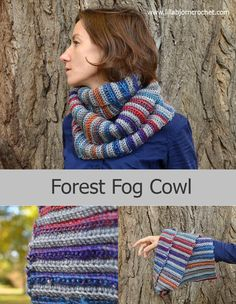 Featuring gray stripes that alternate with an assortment of bright colors, the Forest Fog Crochet Cowl is a vibrant accessory that you'll want to wear on any dreary morning. This crochet cowl pattern calls for an assortment of bulky yarn, so feel fre