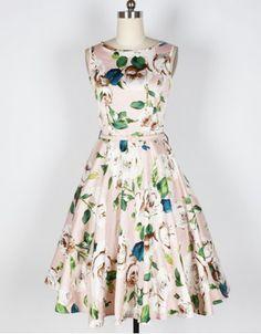 Vintage Floral Print Boat Neck Sleeveless Mid-Calf Women's Pleated Dress With Belt Vintage Dresses | RoseGal.com Mobile