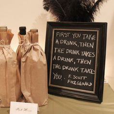 Bottles wrapped in brown paper bottles will add to the styling...perfect for beer/wine tasting party....