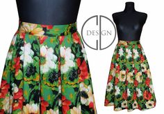 GREEN FLOWER MIDI SKIRT by domka design