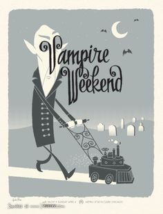 Vampire Weekend Concert Poster at the Metro- Chicago Apr 2008 poster measures 19 inches x 25 inches hand made 3 color silkscreen print signed limited edition artist: John Solimine / Spike Press Omg Posters, Band Posters, Film Posters, Vampire Weekend, The Wombats, Kunst Poster, Vintage Poster, Lettering, Grafik Design