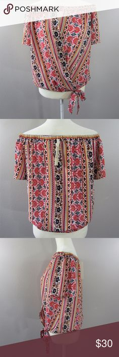 MACY'S Monteau Off Shoulder Floral Top SZ J XL MACY'S Monteau Brand Off Shoulder Floral Top   SZ Juniors XL  97% Polyester 3% Spandex  Measurements coming soon! If you would like them sooner, please contact me/leave me a comment :) and I will update the listing with them for you. :) Monteau Tops Blouses