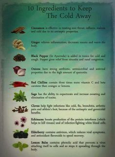 10 Ingredients to keep the cold away..  Don't forget to add some of these to you juices and meals!