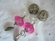 Silver Pink Lucite Dangle Earrings 1980's
