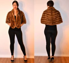 1950s sz small / medium brown mink stole // USA MADE  #fauxy #recycledfurr
