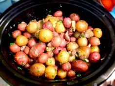 Try this easy to prepare slow cooker garlic roasted baby potatoes recipe. A perfect side dish solution that is less work compared to mashed potatoes! Vegetable Crockpot Recipes, Crock Pot Vegetables, Slow Cooker Recipes, Cooking Recipes, Crockpot Meals, Veggies, Freezer Cooking, What's Cooking, Cookbook Recipes