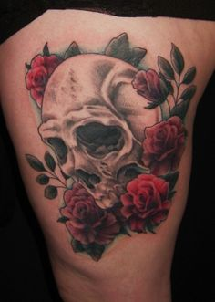 My thigh tattoo sketch skull rose gun tattoos for Skull love tattoos