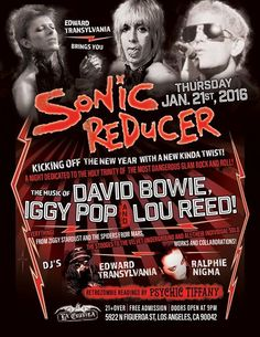 Sonic Reducers Holy Trinity Night Music Of David Bowie, Iggy Pop & Lou Reed | Los Angeles