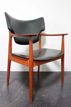Peter Wessel; Teak and Leather Armchair, 1950s.