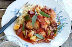 Kycklinggryta med fläsk och salvia - Recept