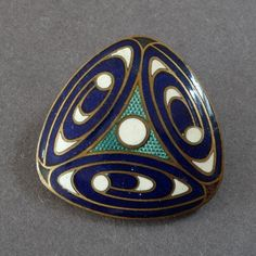 Vintage Triangular Art Deco Enamel Button Geometric Pattern Blue Green White 1' -- found at www.rubylane.com #vintagebeginshere #mondayblues