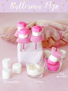 These Marshmallow Ballerinas are stunners with their cupcake liner tutus. They'll be the hit of the party.