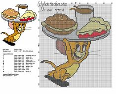Jerry mouse running with food from Tom and Jerry cartoon free cross stitch pattern