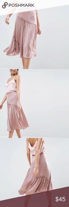 ASOS Mauve Satin Midi High-Waist Ruffle Skirt ASOS Mauve Satin Midi High-Waist Ruffle Skirt. Brand new with tags.  Women's Size 2. ASOS Skirts Midi