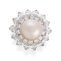 A PEARL AND DIAMOND RING, BY VAN CLEEF & ARPELS   The central pearl within a marquise and brilliant-cut diamond surround, to the diamond-set shoulders and plain hoop  Signed Van Cleef & Arpels, No. 35997