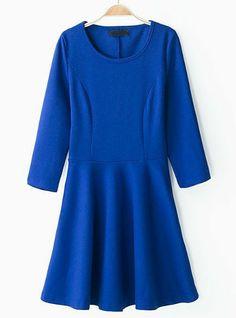 Blue Round Neck Long Sleeve Slim Pleated Dress US$30.49