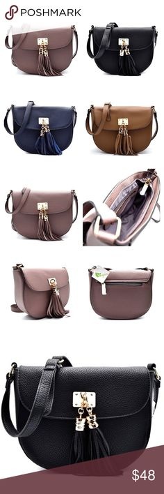 "Boho Pebble Vegan Leather Crossbody Tassel Handbag PREORDER ~Beautiful Pebble Vegan Crossbody & Tassel Accent and Gold Tone Hardware. Accent Flap, Zipper Opening and Magnetic Snap with Tassel. Back exterior zipper pocket. Interior has 1 zipper pocket and 2 slip pockets. Size: 8.5""L x 7.5""H and Adjustable Crossbody Strap. Colors: Mauve, Stone, Black & Navy Blue. No Trades. Price is Firm Unless Bundled. BUNDLE 2 Items 10% Off 3 Items 20% Off. GlamVault Bags Crossbody Bags"