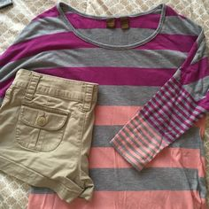 Purple, Coral, Gray Baseball Tee 3/4 sleeve purple, coral and gray baseball style tee. Very soft and comfortable, perfect condition, gently worn. Tag states that it's a size small but it would easily fit XS, S or even a small medium. Khaki shorts are being sold in my closet as well under a different listing. Copper Key Tops