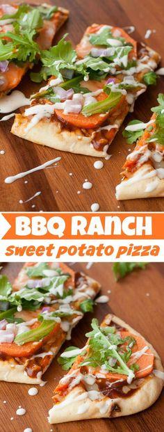 BBQ Ranch Sweet Potato Pizza :: this flavorful flatbread rocks!