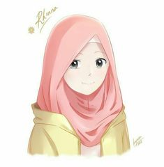 This scarf is central to the piece while in the garments of women together with hijab. Hijab Anime, Hijab Drawing, Drawing Art, Islamic Cartoon, Hijab Cartoon, Cute Cartoon Girl, Islamic Girl, Muslim Girls, Drawing People
