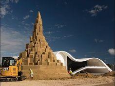 Built For It™ Trials - Sand Castle: Cat® Products Build World's Tallest Sand Castle - YouTube