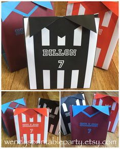 Personalized / printable Football / Soccer Shirt Favor Bag Template (printable by you) dimensions in description by WendysPrintableParty on Etsy