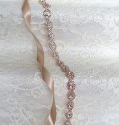 Rose Gold Crystal Rhinestone Bridal SashWedding by lostintimeinc