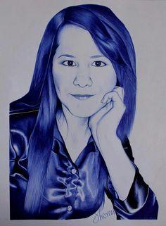 Retrato. LilianaMaldonado.Tinta>bolibic Azul