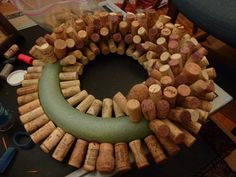 Douglas Kitchen Odyssey: Wine Cork WreathYou can find Wine cork crafts and more on our website. Wine Cork Wreath, Wine Cork Ornaments, Wine Cork Art, Wine Craft, Wine Cork Crafts, Wine Bottle Crafts, Wine Bottle Corks, Wooden Crafts, Diy Crafts
