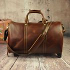 Men Genuine Leather Travel Bag Cowhide Tote Luggage Duffle Gym Bags Luggage Cart