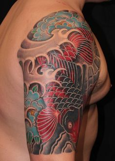 red and black koi