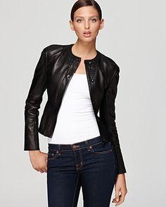 Love this! DIANE von FURSTENBERG Jacket - Maya Metallic Leather | Bloomingdale's