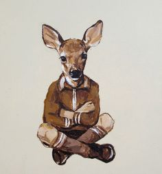"Michael McConnell - ""Little Deer"" 8"" x 8"", acrylic on wood, 2012"