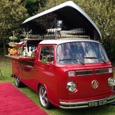 The Cocktail Car, well her real name is Olive.. This is a thing in England! Imagine this cute VW bus at your next special event!!