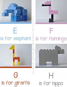 #Lego Animal Alphabet Printable: E – H #preschool