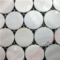 Pure White Round Mother Of Pearl Mosaic Tiles Shell Wall Tiles