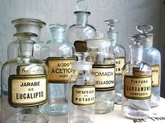 A collection of antique pharmacy bottles