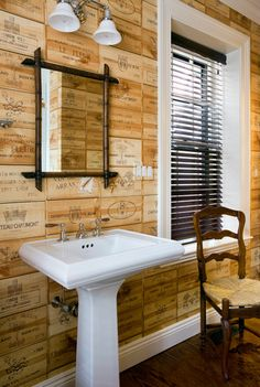 Wine crate wall covering+eclectic bathroom by JW Construction Wine Crate Wall, Bathroom Wall, Bathroom Design, Diy Bathroom Decor, Wine Box Wall, Eclectic Bathroom, Eclectic Home, Old Wooden Crates, Wine Box