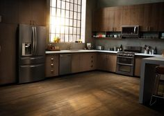 Open, airy, rich, and rustic. This modern loft kitchen reaches new design heights with features like concrete slab counters, warehouse-style windows, and LG's Black Stainless Steel Series appliances. #dimlight #woodtheme #interior