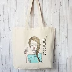 Miss 'Bardot' Cotton Canvas Personalised Tote Bag - new in fashion