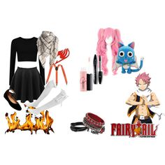 Casual Female Natsu by xxghoulxx on Polyvore featuring Steve Madden, MAC Cosmetics, Lancôme, GE, casual, cosplay, FairyTail and genderbenter