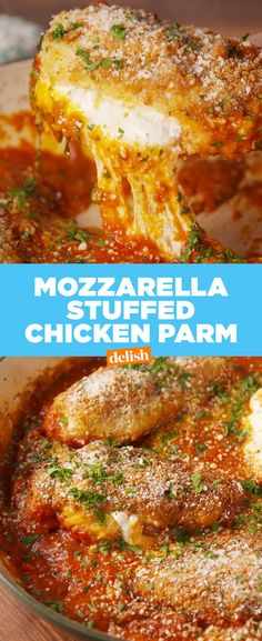 This chicken parm is STUFFED with mozzarella