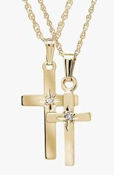 Mignonette 14k Gold & Diamond Cross Mother & Daughter Necklace Set available at #Nordstrom