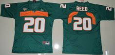 Youth Miami Hurricanes Ed Reed 20 College Football Jersey - Green