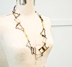 Vintage Metal Buckles Necklace - Gold , Bronze and Silver Links