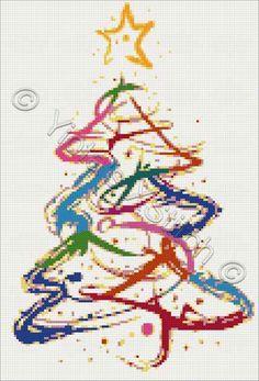 Abstract Christmas tree cross stitch kit, pattern
