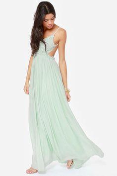 Pretty Mint Dress - Crochet Dress - Maxi Dress - Lace Dress - $54.00