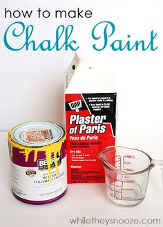 While They Snooze: How to Make Chalk Paint: 2 cups of paint 1/3 cup of plaster of paris 2 TBSP water Chalk Paint Projects, Chalk Paint Furniture, Furniture Projects, Diy Furniture, Diy Chalk Paint Recipe, Refinished Furniture, Paint Ideas, Make Chalk Paint, Bedroom Furniture