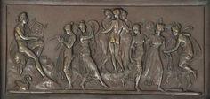 Bronzerelief, um 1920, Darstellung aus der griechischen Mythologie, ebonisierter Rahmen, 13 x 26 cm